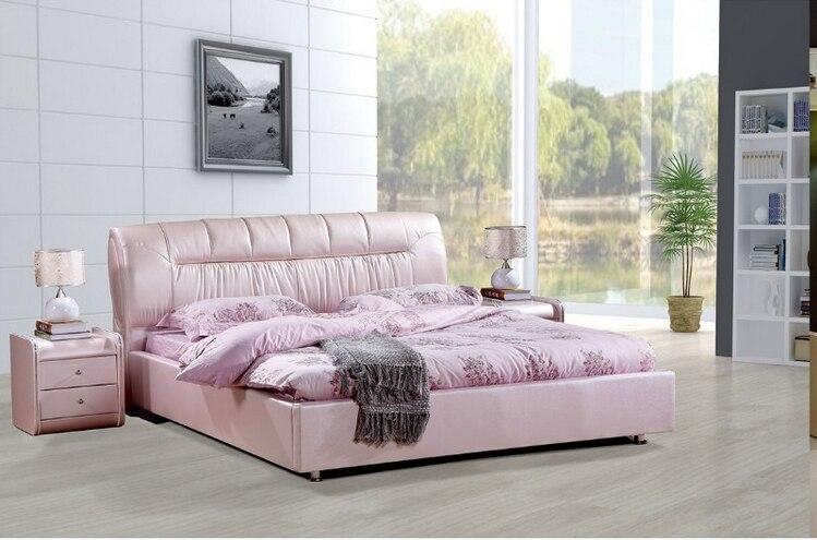 Prix d'usine de haute qualité en cuir véritable royale grande king size meubles de mariage doux de chambre à coucher lit douillet 2683