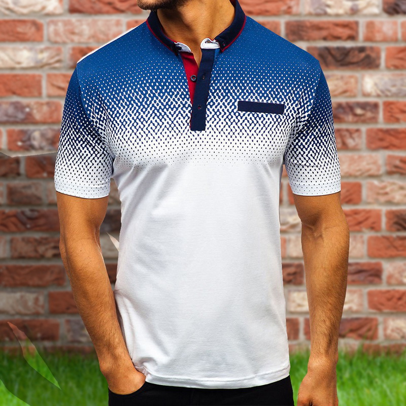 Oeak Men's Fashion 3D Print Short Sleeves Polo Shirt 2019 New Summer Loose Slim Fit Casual Polo Shirt