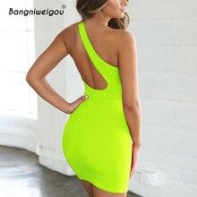 9736ab2be6 Bangniweigou Sexy corte Barra de un hombro de vestido de las mujeres verde  naranja neón fiesta