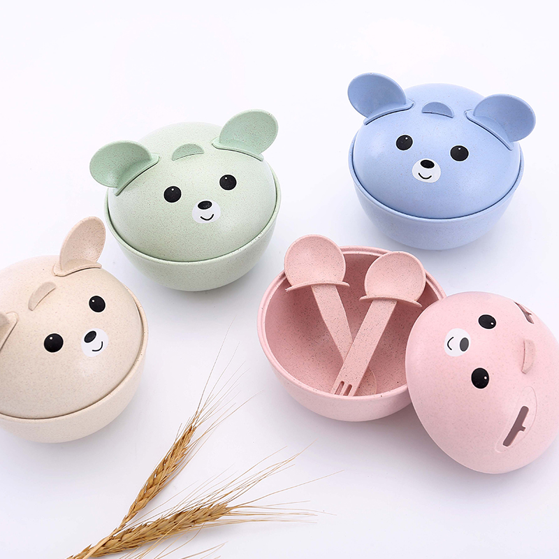 Cartoon Anti scald and wrestling childrens tableware suit cute bear style bowl 11.5*12.5cm
