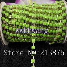 Бесплатная доставка SS16 4 мм 10 ярдов акриловые, зеленого цвета со стразами серебряная цепочка планки Свадебные платья Свадебные украшения