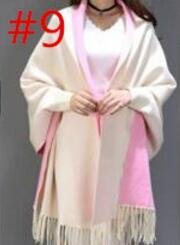 SC2 большой шарф Зимний вязаный пончо женский однотонный дизайнерский плащ женский длинный рукав летучая мышь пальто винтажная шаль - Цвет: Beige With Pink