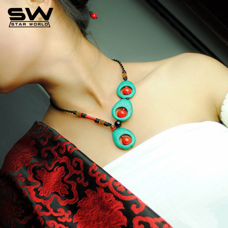 Vintage Retro Peacock Feather Shaped Water Drop Red Coral Beads Distinctive Pendant Necklace Ethnic Women Jewelry
