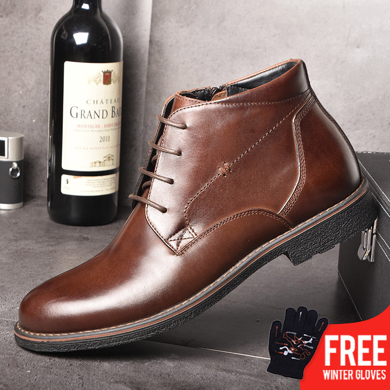 OSCO Genuine Leather Men Boots Autumn Winter Ankle Boots Fashion Footwear Lace Up Shoes Men Business Casual High Top Men Shoes