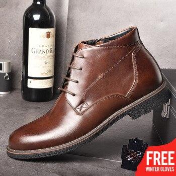 Оско пояса из натуральной кожи мужские ботинки осень зима ботильоны модная обувь кружево до обувь для мужчин бизнес повседневное высокие