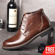 лучшая цена OSCO Genuine Leather Men Boots Autumn Winter Ankle Boots Fashion Footwear Lace Up Shoes Men Business Casual High Top Men Shoes