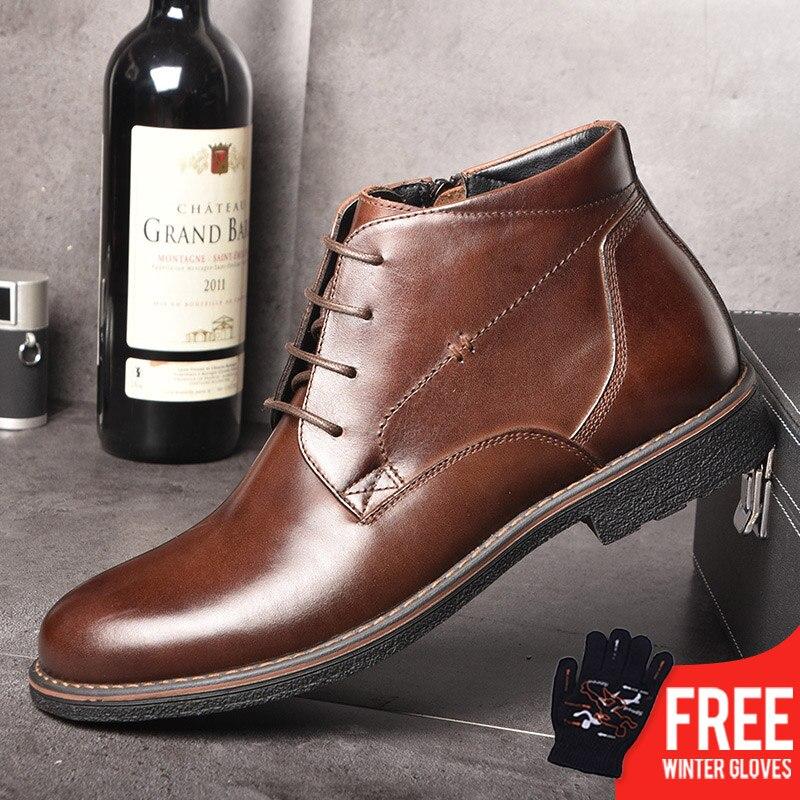 OSCO de cuero genuino de los hombres botas de otoño invierno tobillo botas calzado de moda de los zapatos de los hombres casuales de negocios alta de los hombres zapatos