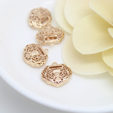 4PCS 16x15MM 24K Champagne Gold Color Plated Brass Lucky Lock Charms Pendants High Quality Diy Jewelry Accessories