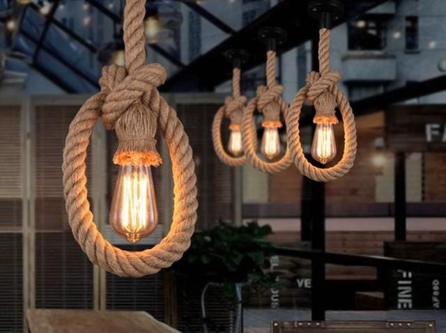 Bancone bar in stile americano illuminazione corda di canapa della