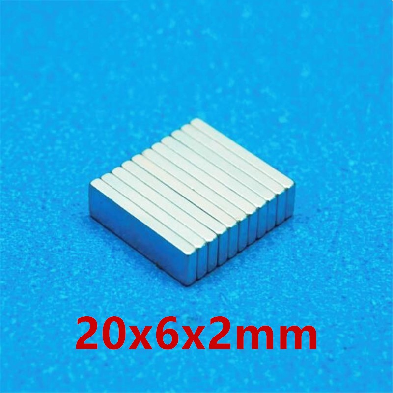 LEDERE 10pcs /lot magnet 20x6x2 N35 Strong Square NdFeB Rare Earth Magnet 20*6*2 mm Neodymium Magnets 20mm x 6mm x 2mm 10x5 4mm cylindrical ndfeb n35 magnet w hole silver 10pcs