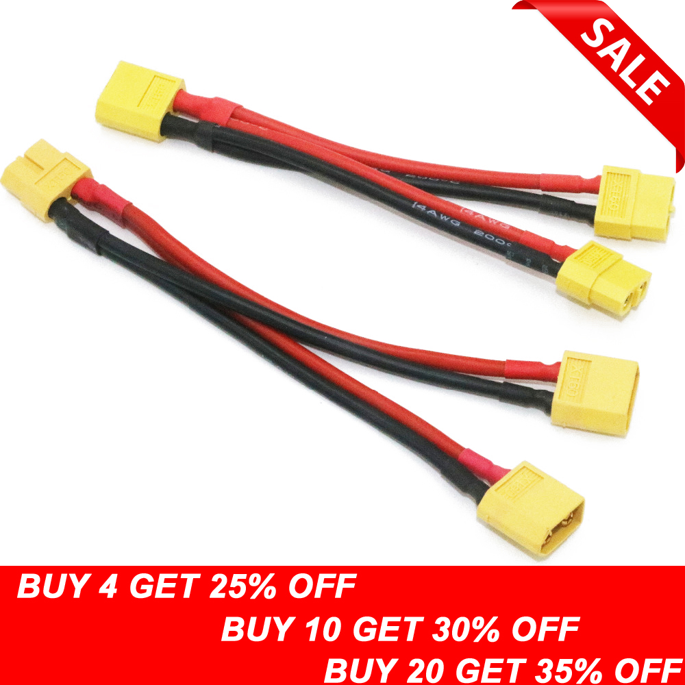 1pcs Xt60 Parallel Battery Connector Cable Dual Extension Y Splitter Silicone Wire
