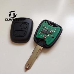 Nowy pilot zdalnego klucz do PEUGEOT 206 2 przycisk 433 MHz z chipem ID46 + Uncut puste ostrze