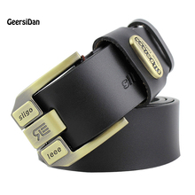 2017 High quality 100% cowhide genuine leather belts for men brand Strap male pin buckle fancy vintage jeans cintos