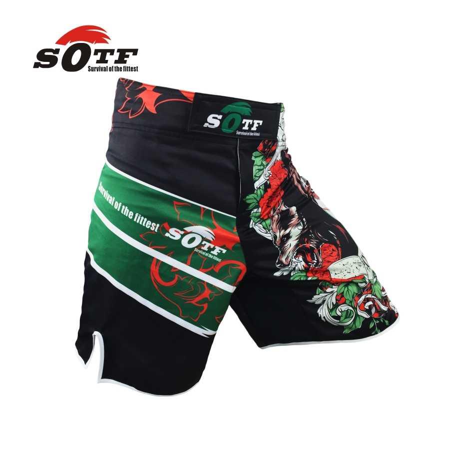 Suotf MMA Celana Pendek Tiger Muay Thai Kinerja Teknis Falcon Celana Pendek Olahraga Tinju Pakaian Muay Thai Celana Pendek dengan Harga Murah Kickboxing
