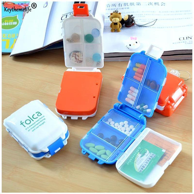 Keythemelife Портативный печать складной Pill Чехол ювелирные изделия конфеты коробка для хранения Витамин Медицина Pill Box чемодан Контейнер 6D