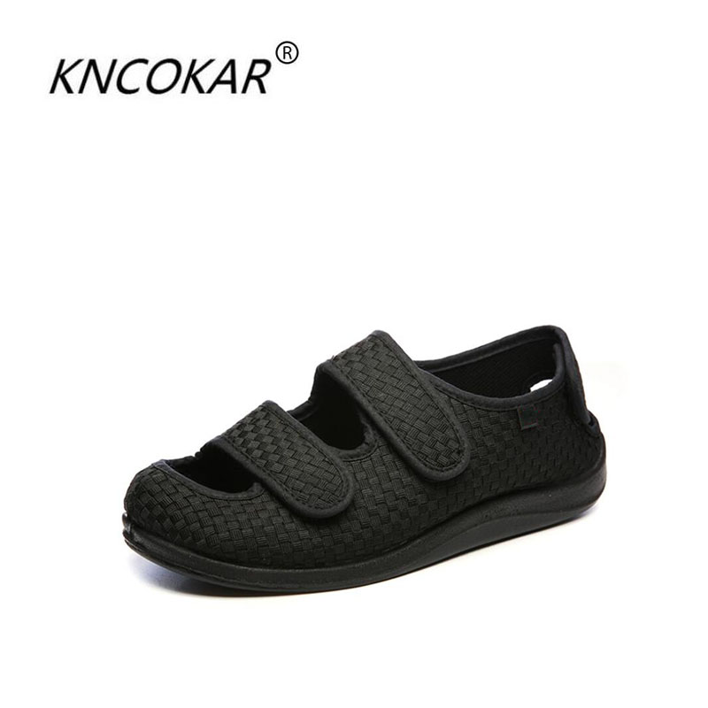 KNCOKAR 2018 Middle And Old Age Foot Swollen Fat Toes Can Be Worn Before And After Widening Can Adjust Diabetes Shoes