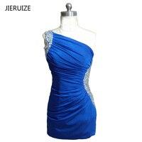 JIERUIZE Royal Blue Spandex Short Prom Dresses One Shoulder Beaded Short Prom Party Dresses Homecoming Dresses