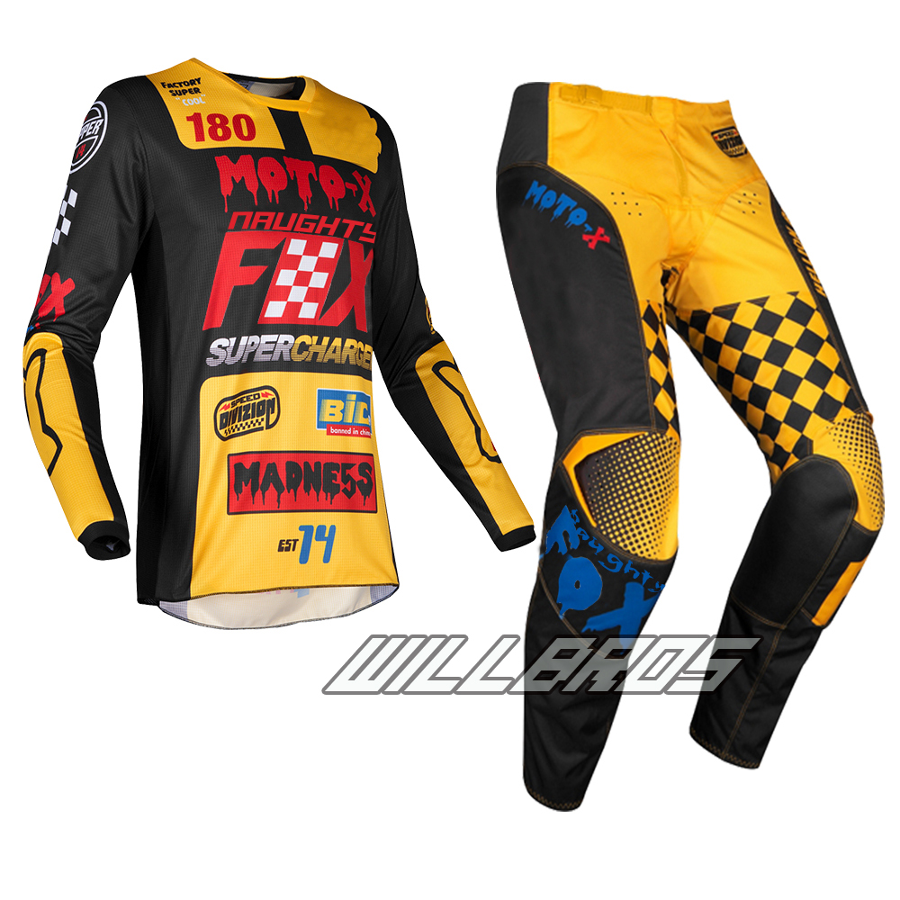 Free Shipping Naughty Fox 2019 Adult MX 180 Czar Black Yellow Jersey Pants Motocross Dirt Bike ATV Off Road Racing Gear Set