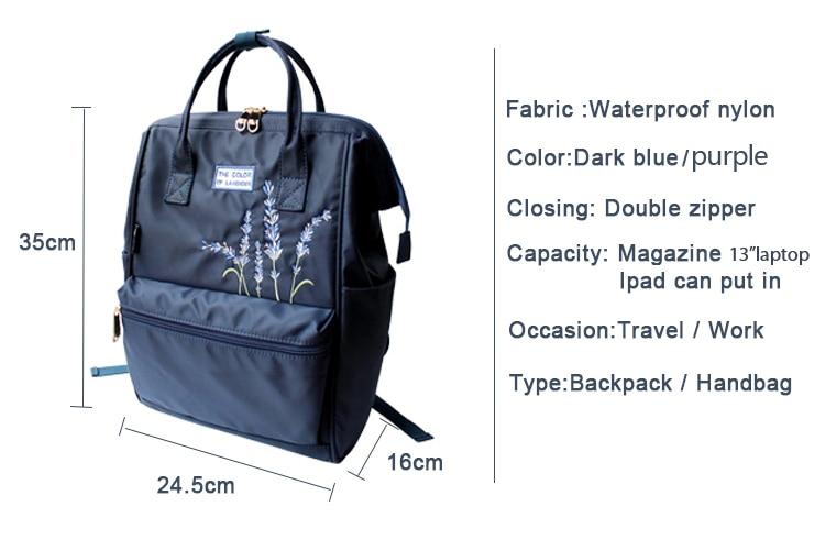 HTB1ZqGbXFY7gK0jSZKzq6yikpXaJ Flower Princess Embroidery Nylon Women Backpack Water-resist Laptop Bag College Travel Bagpack for Girl Daypack Mochila Feminina