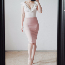 Neophil 2018 Summer Sexy Ladies Chiffon Pencil Skirts Midi High Waist Stretch Slim Casual Pink Black Office Work Wear Saia S0311