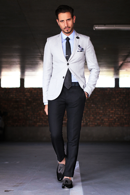 dee06e0689a1 Sur Mesure Style Décontracté Homme Costume Blazer Beige Noir Pantalon Slim  Fit Hommes Mariage Costumes De