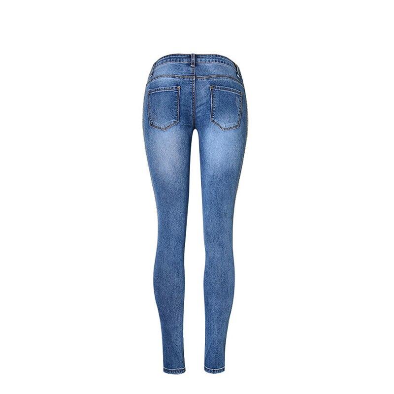 Pantalones vaqueros de mezclilla de longitud completa para mujer, pantalones de cintura baja, pantalones ajustados, talla grande y rayas laterales doradas 2019 - 3