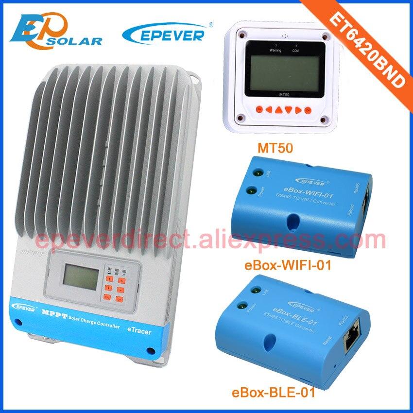 Max PV entrée 190 V chargeur de batterie EPEVER ET6420BND cellules solaires PV 60A MT50 mètre wifi et ble eBOX 48 V 36 V travail de commutation automatique