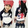 Девочки Мальчики Футболки детская одежда риса слово флаг мальчиков и девочек с длинными рукавами Футболки шить случайные футболки основывая