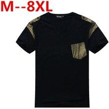 large plus size 8XL 7XL 6XL 5XL New Arrive Raglan Sleeve Floral Printed Men T-Shirts v-Neck Men's Short T Shirt With Pocket