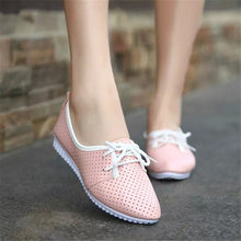 Hot Sale 2016 New Fashion Cut-outs Breathable Flat Woman Shoes Leisure Lace-up Pointed Toe Small White Shoes Size 35-40 ST235