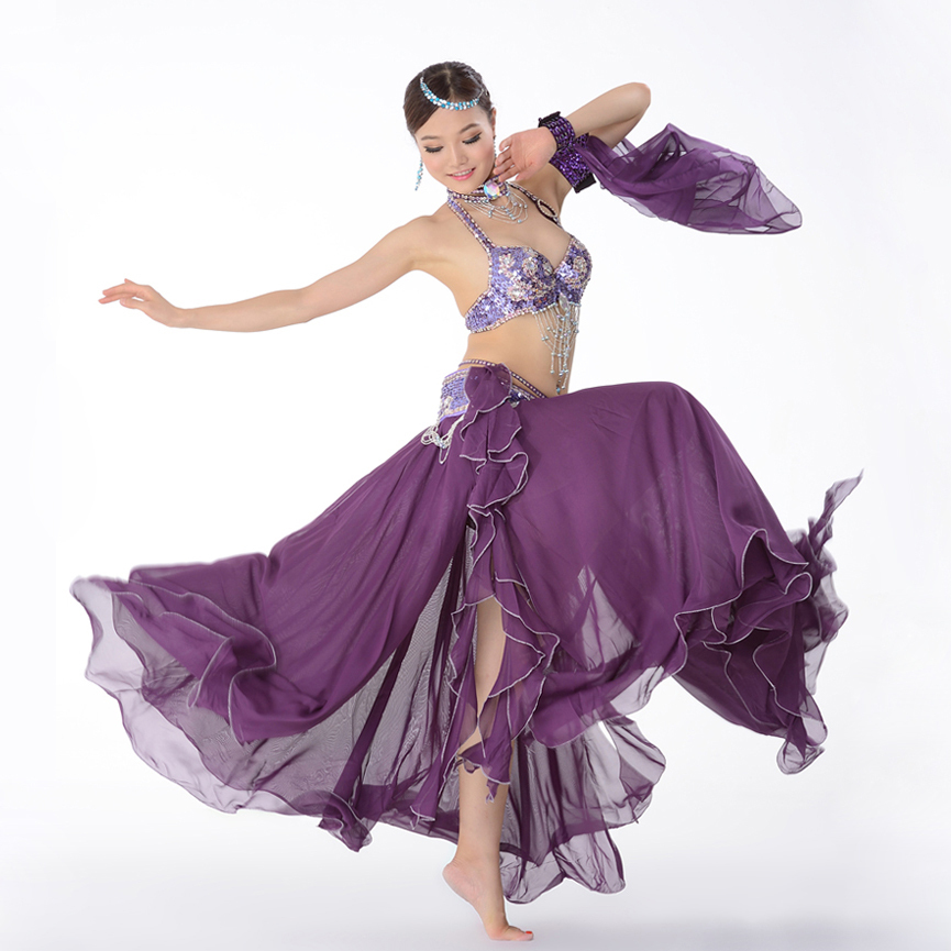 Stage Performance Oriental Belly Dancing Clothes 3-piece Suit Bead Bra&belt & Skirt Belly Dance Costume Set 32-34b/c 36b/c 38b/c