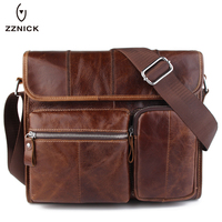 ZZNICK Genuine Leather Bag Men Bags Messenger Casual Men S Travel Bag Leather Clutch Crossbody Bags