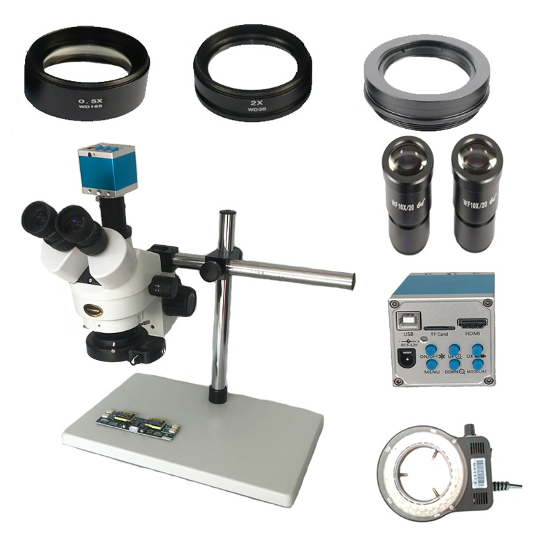 16MP HDMI 3 5X 7X 45X 90X Continuous zoom simul focal Trinocular Stereo Microscope USB phone