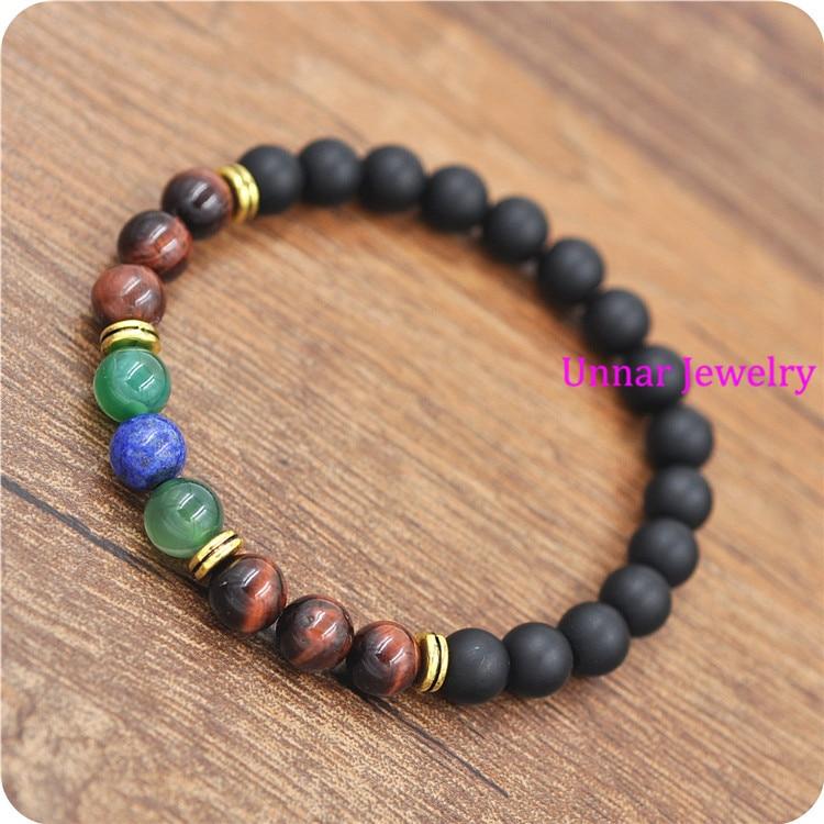 New design Natural Stone beads matte lapis lazuli red tiger eye Indonesia stone healing bracelet