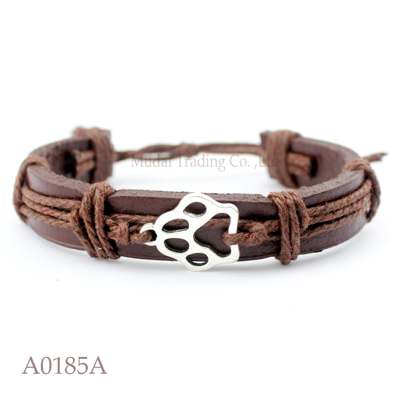 (10PCS/lot) ANTIQUE SILVER DOG PAW CAT PAW CHARM Adjustable Leather Cuff Bracelet for Men & Women Friendship Casual Jewelry