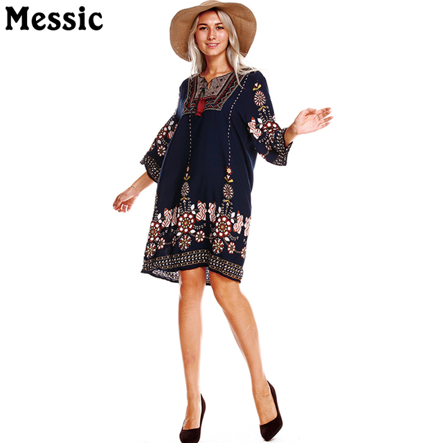 d561b62fb20 Messic Loose Boho Vintage Causal Dress Tassel Midi Robe 2018 Women Summer  Dress Print Floral Patchwork A Line Ladies Dresses 50s