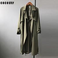 Autun Trench Coat For Woman Long Bat Sleeved Long Trench Coats Army Green Fashion Red Long Sleeve Oversize Belt Windbreaker