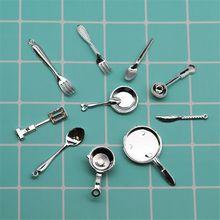 цены 11PCS 1:12 Fork Pot Kitchen Set Food Toys Dollhouse Miniature Dolls Accessories Pretend Play Kids Toy