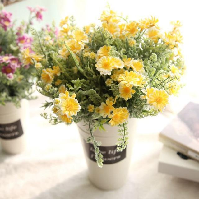 New Artificial Fake Flowers Mid Chrysanthemum Floral Wedding Bouquet Home  Decor Artificial Flower Arrangements Home DIY