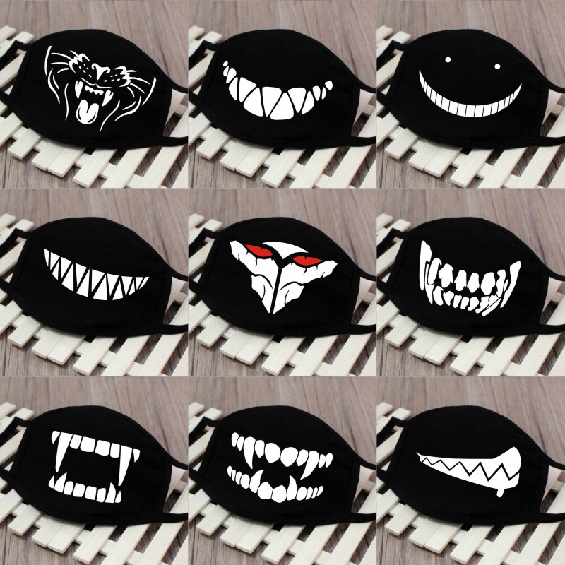 1PC Cartoon Face Mask Funny Teeth Pattern Unisex Cute Anti-bacterial Dust Winter Cubre Bocas Hombre Mouth Mask High Quality