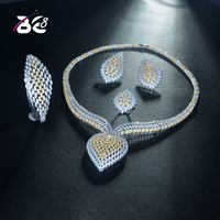 Be 8 Unique Design Water Shape 2 Tones Dubai Jewelry Set AAA CZ Earrings Necklace Women Bridal Party Gifts for Lady Dress S323
