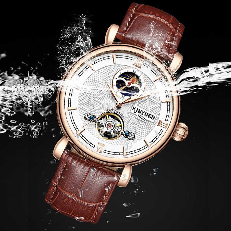 KINYUEDแบรนด์หรูTourbillon Automatic Skeletonนาฬิกาผู้ชายMoon Phase Self-WindนาฬิกาCasual Horloges Mannen