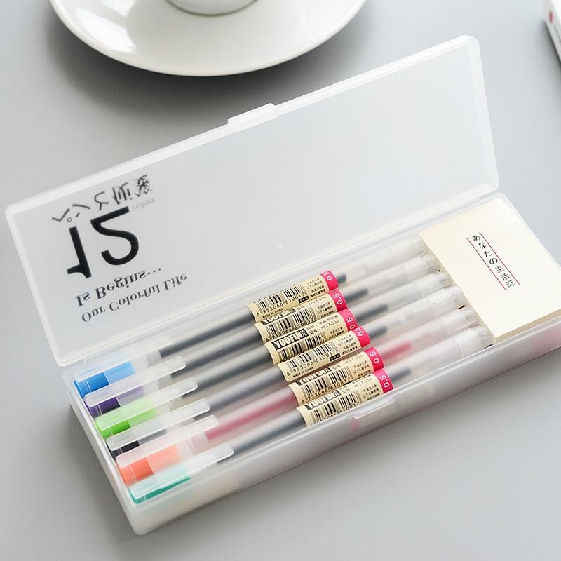 12 Pcs/lot Muji Style Gel Pen 0.5mm Color Ink Pen Maker Pen School Office Supply 12 Colours