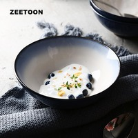 Modern Rice Bowl Gradient Blue Color Ceramic Dinnerware Tableware Home Breakfast Hand Pulled Noodle Soup Bowls Kitchen Supplies
