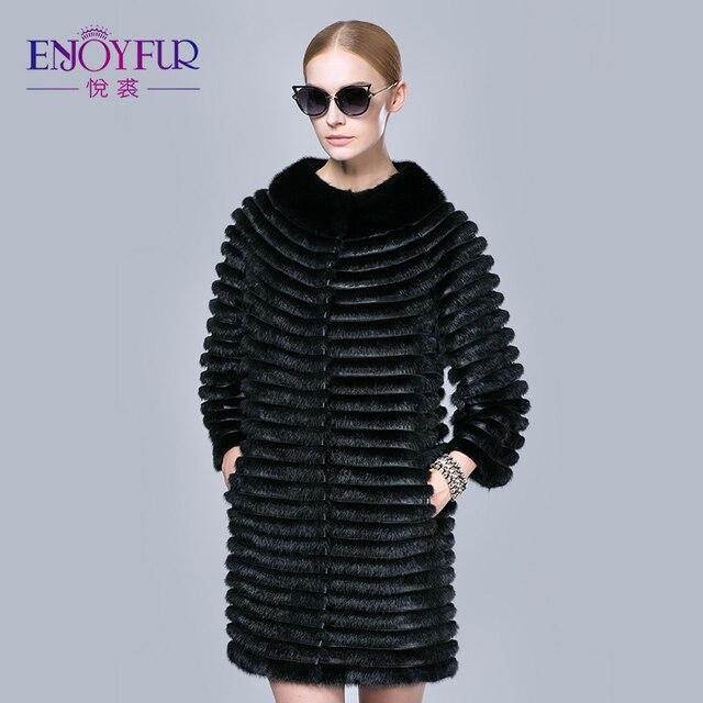 ENJOYFUR winter women mink coat real mink fur coats genuine ...