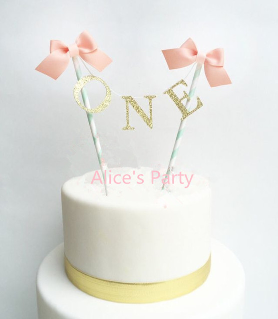 New Handmade Hot One Baby Shower Cake Bunting Gold Themed Birthday Topper Pink Bows Girl 1st Party Banner Decor