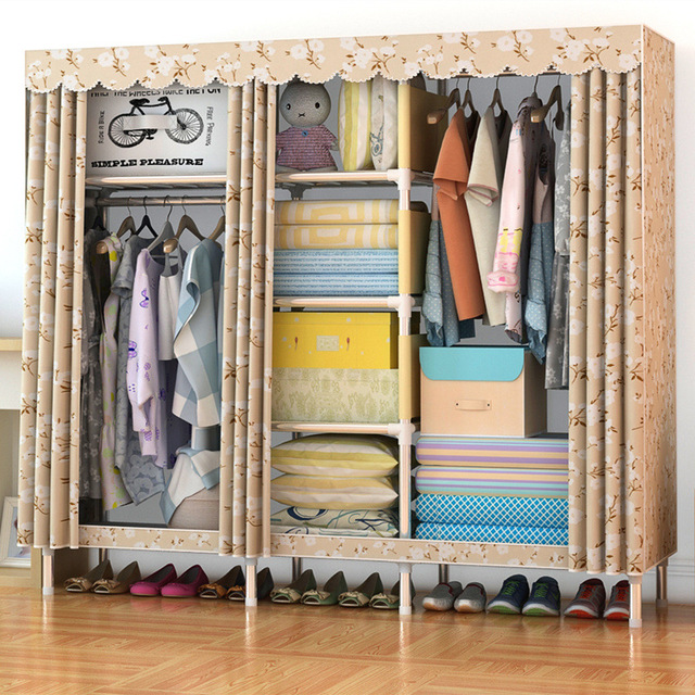Simple Modern Wardrobe Clothing Storage Cloth Wardrobe Folding Fabric Closet  DIY Storage Cabinet Dustproof Furniture