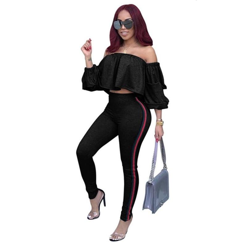 Womens Sportswear Womens Explosive Fashion Europe and the United States Sexy Two-piece Suit conjunto moleton feminino