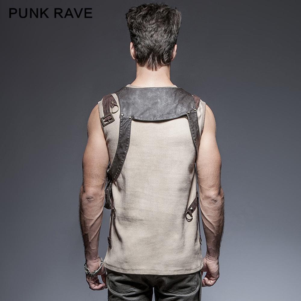 Erkek Kıyafeti'ten Tişörtler'de Punk Rave Steampunk Demeti Suni Deri Gotik Victorian Tek Kahverengi tek cep çanta gömlek S171'da  Grup 2
