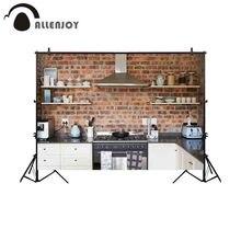 Allenjoy 写真撮影の背景古いキッチンレンガスタイリッシュなホームの背景 photobooth photocall 撮影写真の小道具セッション小道具